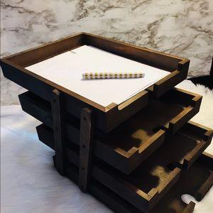 Set of 4 Dark Wood Desktop Trays